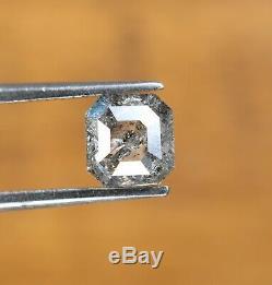 Salt and Pepper Asscher Cut Diamond 1.03 Carat 5.70 5.50 MM Natural Loose Dia