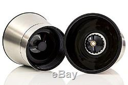 Salt and Pepper Shakers Grinders Mill Set Pair with Adjustable Coarseness and Gl