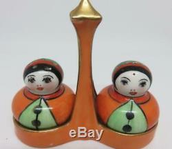 Scarce Antique Art Deco Noritake Salt & Pepper Shakers of 2 Little Ladies + Tray