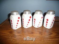 Set/4 Vintage Mckee Roman Arch Red Dot Shakers Salt Pepper Sugar Flour