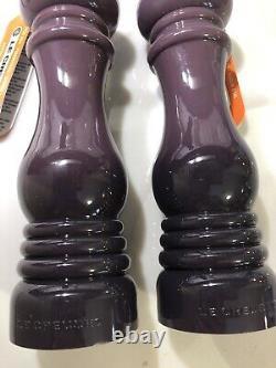 Set of 2 Cassis Purple LE CREUSET Salt & Pepper Mill Grinders with Rubber Caps