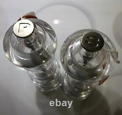 Set of 2 Clear Acrylic LE CREUSET Salt & Pepper Mill Grinders with Rubber Caps