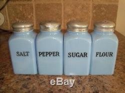 Set of 4 Jeannette Delphite Blue Range Shakers Salt Pepper Sugar Flour