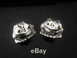 Silver FROG Salt & Pepper Pots, Birmingham 1997, Period Jewellery Manufacturing