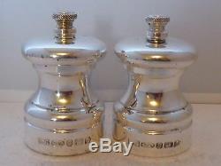Solid Hallmarked Silver Cruet Set Salt & Pepper Grinders Mills