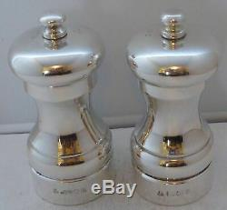 Solid Hallmarked Silver Cruet Set Salt & Pepper Grinders Mills MC Hersey