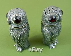 Solid Silver Owl Cruet Owls Salt & Pepper Shakers Cruet Bank Holiday Sale £150