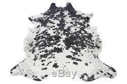 Spotted Black n White Cowhide Rug Medium 18-22 sq. Ft Salt and Pepper Cowskin Rug
