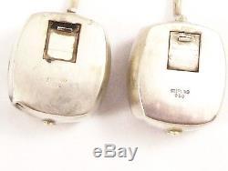 Sterling Silver 950 Salt & Pepper Shakers Japanese Shamisen Musical Instruments