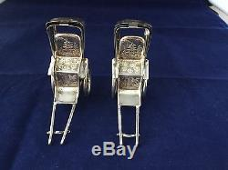 Sterling Silver Japanese Rickshaw Salt & Pepper Shakers