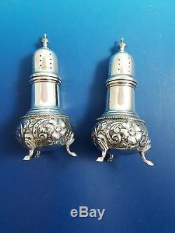 Sterling Silver Salt and Pepper Shakers with Floral Design 5 Not Weighted