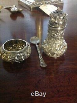 Stieff Rose Sterling Individual Pepper, Open Salt Cellar and Salt Set