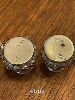 Stieff Sterling Silver Rose Salt & Pepper Shakers With Salt Cellars & Spoons