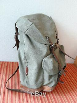 Swiss Army Military Backpack Rucksack 1961 CH Canvas Salt & Pepper Switzerland