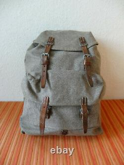 Swiss Army Military Backpack with straps Rucksack Canvas Salt & Pepper 1956