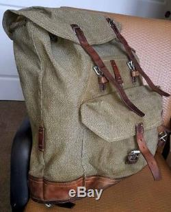 Swiss Army Salt Pepper Canvas Military Surplus Backpack Pack Bag Vintage