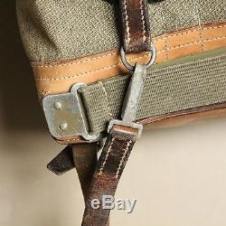 Swiss Vintage 1960 Salt and Pepper Leather and Canvas Rucksack Backpack