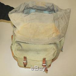 Swiss Vintage 1972 J. Kern Salt and Pepper Leather and Canvas Rucksack Backpack