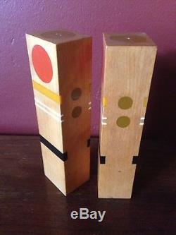 Tall Robert McKeown Salt Pepper Shaker Sculpture Art Wood Resin Mid century Mod