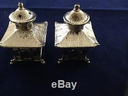 Thistle & Bee Sterling Silver Pagoda Salt and Pepper Shakers