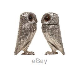 Tiffany & Co London Sterling Silver Salt & Pepper Shakers Owl Form, 1966