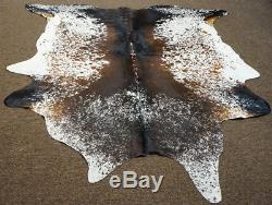 Tricolor Salt and Pepper Brazilian Rodeo Cowhide rug 7.2x6.6 ft- 2671