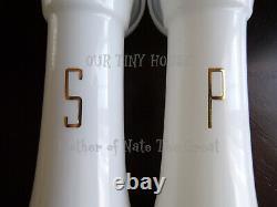Tupperware Salt & Pepper Shakers Hourglass Set 6 Large Vintage White Gold NOS