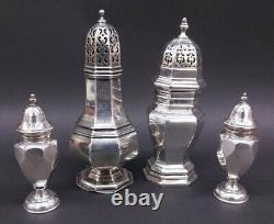 Two Sterling Sugar Casters & Salt Pepper Shakers