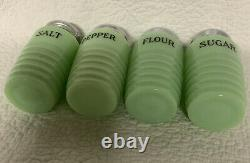 Unmarked Jadeite Green Shakers/Set Of 4/Salt, Pepper, Sugar, Flour