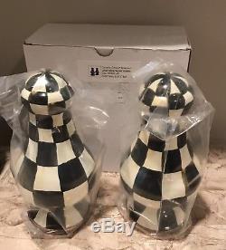 Unused MacKenzie Childs Courtly Check Enamelware LARGE Salt & Pepper Shaker Set