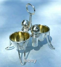 Unusual Vintage American Double Egg Cup Holder Salt & Pepper Cruet Set 114 Grams