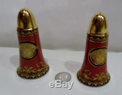 Versace Medusa Rosenthal Salt & Pepper Shakers Red Gold Form Ikarus Wunderlich