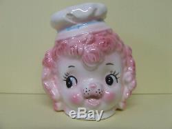 VHTF RARE Vintage Lefton Pink Poodle withChef/Baker's Hat Salt & Pepper Shakers