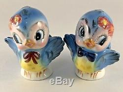VINTAGE 50's LEFTON BLUEBIRD FIGURINES BLUE BIRDS PORCELAIN SALT & PEPPER SHAKER