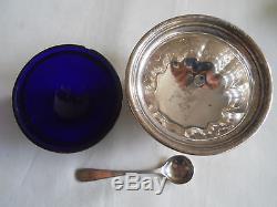 VINTAGE BIRKS 925 Sterling cobalt blue liners Salt Pepper Cellars Mustard Pot