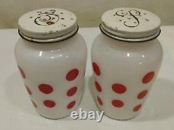 VINTAGE Fire-King Red Polka Dot Grease Jar with Salt and Pepper Shaker SET 1953
