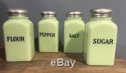 VINTAGE Jeannette Jadeite Jadeite Salt Pepper Flour Sugar Shakers Set- TESTED