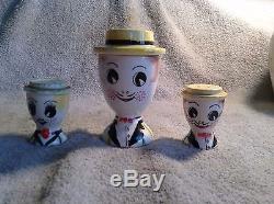 VINTAGE LEGO 1959 DECORATIVE SALT AND PEPPER SHAKER, SUGAR CUP