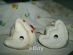 VINTAGE VAN TELLINGEN PEEK-A-BOO SALT & PEPPER SHAKERS WithGOLD TRIM 5 1/2'' LG