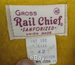 VINTAGE WORK JACKET SALT & PEPPER RAIL CHIEF DEADSTOCK MINT SANFORIZED TALON 42