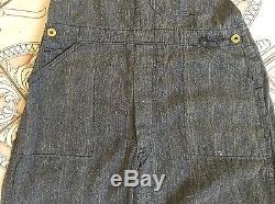 VTG 1930s 1940 Owl Brand Work Mountain Pocket Denim Jean Salt Pepper Overalls