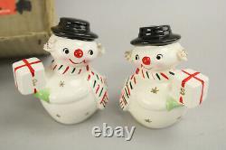 VTG 1950's Holt Howard Christmas Snowman Candelabra + Salt & Pepper Shakers MIB