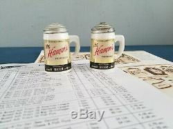 (VTG) 1950s HAMMS BEER SALT & PEPPER SHAKERS SET & ADVERTISING FLYER RARE