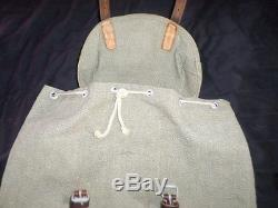 VTG 1957 SWISS ARMY MILITARY Salt & Pepper Canvas Leather Rucksack Backpack