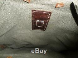 VTG 1957 SWISS ARMY MILITARY Salt & Pepper Canvas Leather Rucksack Backpack
