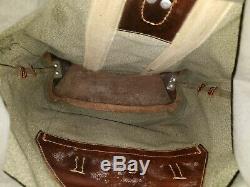 VTG 1966 Swiss Army Military Backpack Rucksack Salt & Pepper Leather Canvas Bag