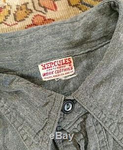 VTG 40's Hercules Sanforized Salt & Pepper Chambray Side Gussets Work Shirt