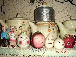 VTG ANTHROPOMORPHIC SALT PEPPER SHAKER TEA BAG EGG CUP CONDIMENT HOLDER LOT 25