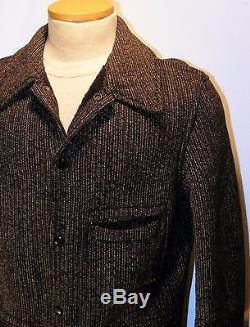 VTG Browns Beach Cloth Jacket 20s WORK WEAR Salt Pepper Stripe WORCESTER MA EUC