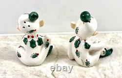 VTG Christmas Elf Elves Salt & Pepper Shakers Lefton Japan Figurine Blond Pixie